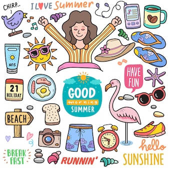 Morning summer colorful vector graphics elements and doodle illustrations