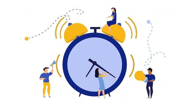 ビジネスの人々の朝の時間は、アイコンを動作します。