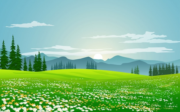 夏の風景の朝の時間