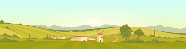 Morning in tuscany flat color illustration
