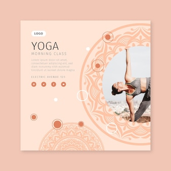 Morning yoga class flyer template