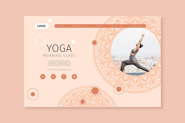 Morning yoga class landing page