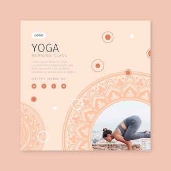 Morning yoga class square flyer template
