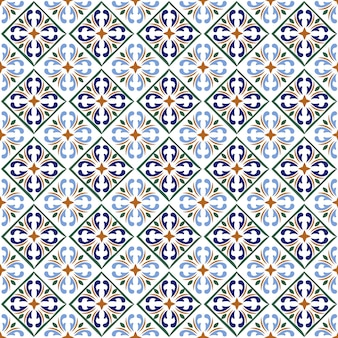 Moroccan blue tiles print or spanish ceramic surface pattern texture.