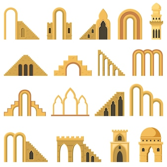 Moroccan contemporary abstract geometric architecture arch elements. modern aesthetic stairs, walls, arch elements vector illustration set. trendy architecture symbols, entrance with columns
