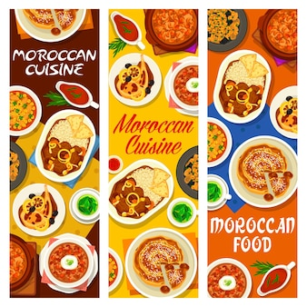Moroccan cuisine cafe food meals banners. chicken tomato soup, fig almond pie and lamb stew with dates, pork with prunes, pearl barley and harira soup, chicken with preserved lemon, mint tea
