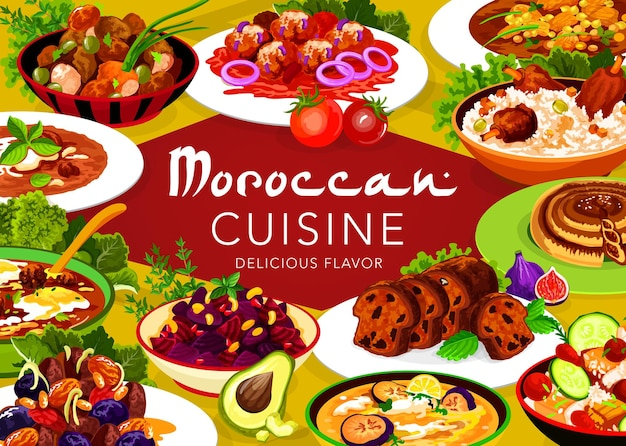 Moroccan cuisine meat with prunes and almond, pomegranate beetroot salad, fig cake. chicken soup, pie with dates, fishball with tomato sauce, meatballs with tomato paste and egg food of morocco