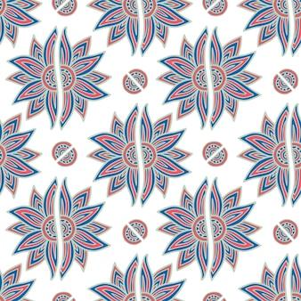 モロッコの花柄。観賞用の花と東部のシームレスな背景。セラミックタイル、テキスタイル、ラッピング、ステーショナリーデザインに使用できます。