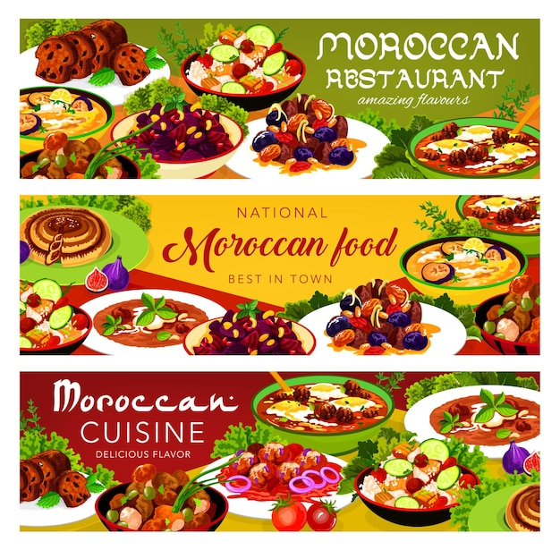 Moroccan food chicken soup, couscous salad with vegetables, balkan cold eggplant soup. payla, fishball with tomato sauce, pie with dates, meatballs with tomato paste and egg cuisine of morocco