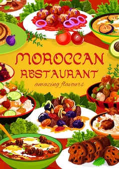 Moroccan restaurant food almond, pomegranate beetroot salad, fig cake, chicken soup. couscous salad with vegetable, payla, meatballs with tomato paste and egg, cuisine of morocco cartoon poster
