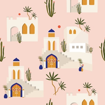Moroccan seamless pattern with old city.