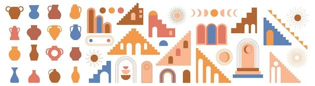 モロッコの階段アーチ壁は自由奔放に生きるスタイルのベクトル建築要素を設定します