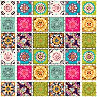 Moroccan tile pattern with mandalas