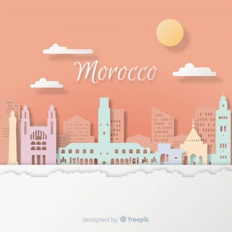 Morocco background with paper art style