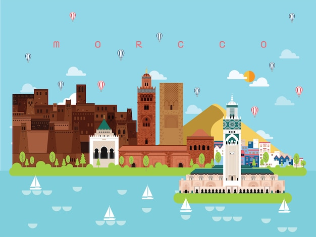 Morocco famous landmarks illustration