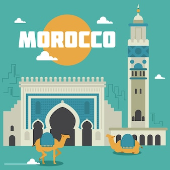 Morocco landmarks illustration