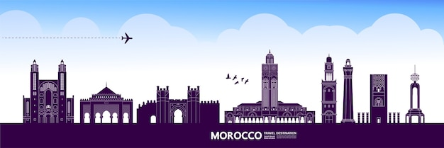 Morocco travel destination grand illustration