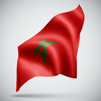 Morocco,  vector 3d flag isolated on white background