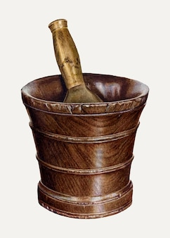 Mortar and pestle illustration vector, remixed from the artwork by elizabeth moutal