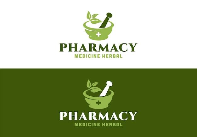 Mortar, pestle, leaf. medical pharmacy medicine logo design template inspiration