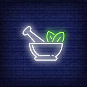 Mortar, pestle and leaves neon sign