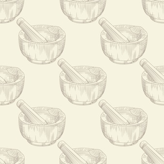 Mortar and pestle seamless pattern. grinding spices and solid food ingredients wallpaper.