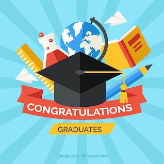 Mortarboard background with education elements in flat design