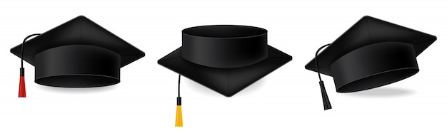 Mortarboard graduation cap collection Premium Vector