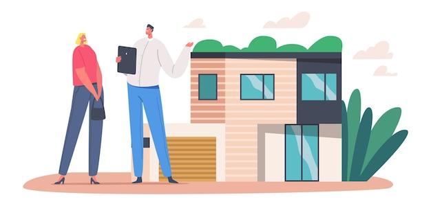 모기지 및 주택 구매 개념입니다. 여자는 부동산 재산을 구입합니다. 부동산 중개인은 여성 캐릭터에게 집을 판매하고 관리자는 고객이 집을 선택하도록 코티지 기능을 설명합니다. 만화 사람들 벡터 일러스트 레이 션