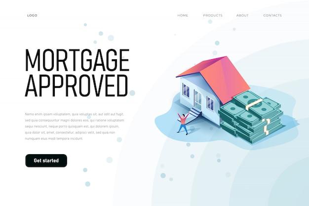 住宅ローンは、家とお金の束のアイソメ図を承認しました。ランディングページテンプレート、不動産をテーマにしたウェブサイト、