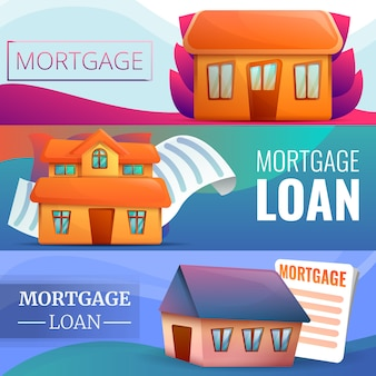 Mortgage banner set, cartoon style