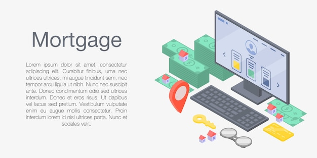 Mortgage concept banner, isometric style