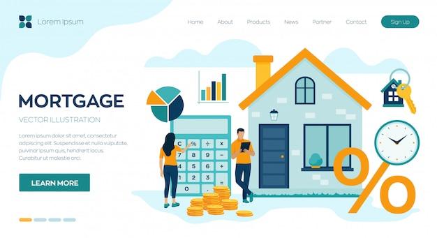 모기지 개념. 부동산에 대한 주택 융자 또는 돈 투자. 집 구입. 남자와 여자는 주택 담보 대출 비율을 계산합니다.