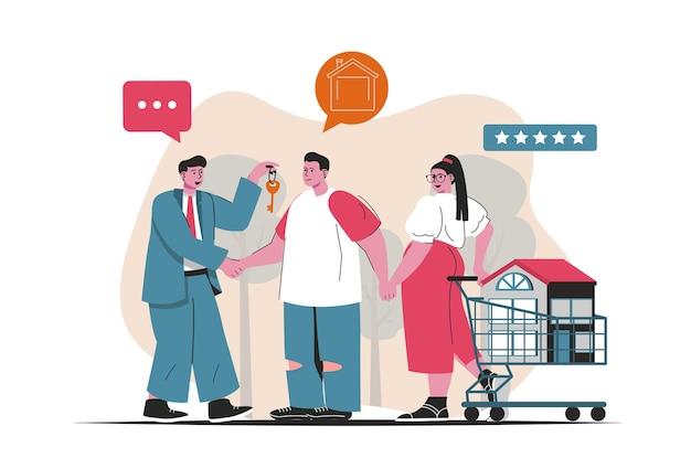 모기지 개념 절연입니다. 주택 구입을 위한 은행 대출, 부동산 서비스. 평면 만화 디자인의 사람들 장면. 블로깅, 웹 사이트, 모바일 앱, 판촉 자료에 대한 벡터 일러스트 레이 션.