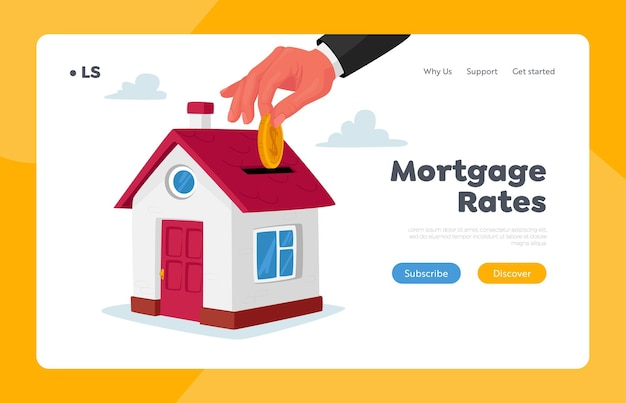 Mortgage and home buying landing page template. huge hand put gold coin in slot at roof of cottage house