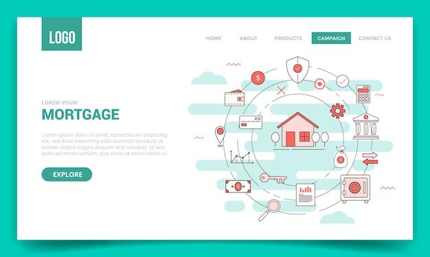 ウェブサイトのテンプレートの円のアイコンと住宅ローン住宅業界の概念
