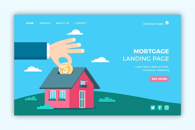Mortgage and house as a piggy bank landing page