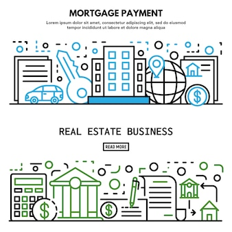 Mortgage house banner set, outline style