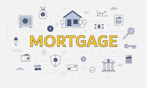 Концепция ипотечного жилищного строительства с набором иконок с большим словом или текстом в центре векторной иллюстрации