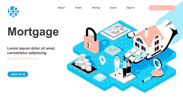 Изометрическая концепция ипотеки в 3d-дизайне для целевой страницы