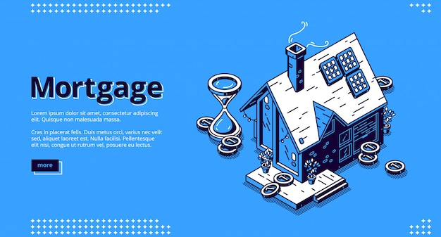 Mortgage isometric landing page with cottage house