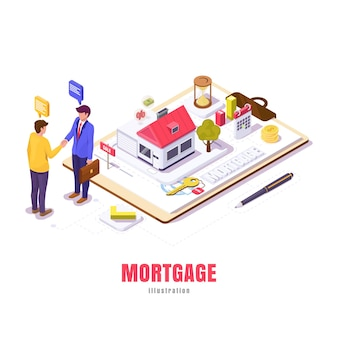 Mortgage in isometric, young guy negotiates a mortgage house with realtor