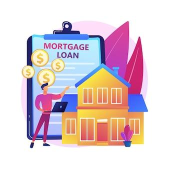 住宅ローンの抽象的な概念図。住宅銀行のクレジット、頭金、不動産サービス、住宅ローンの返済、投資ポートフォリオ、家族の経済的負担。