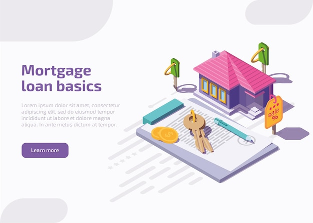 Mortgage loan basics landing page or web banner.