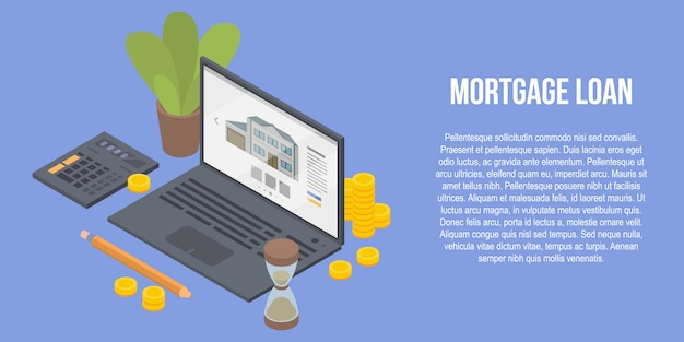 Mortgage loan concept banner, isometric style