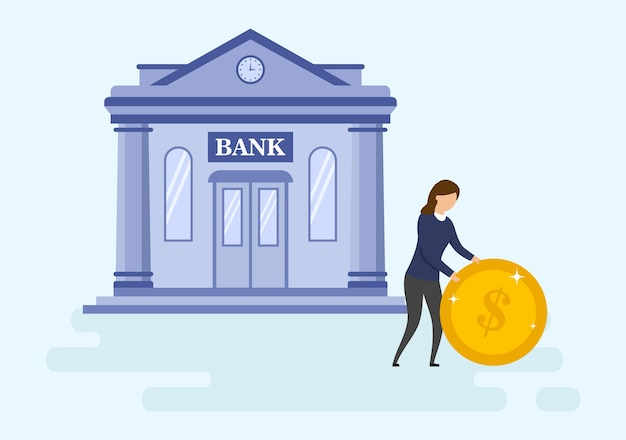 Mortgage loan, money investments types concept. self confident young businesswoman is rolling big gold coin before bank building. metaphor of successful investment. cartoon flat vector illustration.