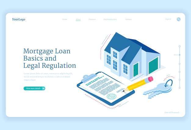 Mortgage loan regulation isometric landing page. cottage house with key and contract document for sign. hypothec debt basic and legal adjustment, personal bank credit for buying home, 3d web banner