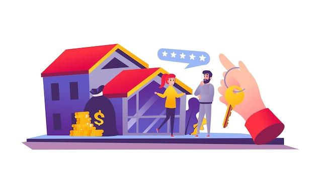 漫画スタイルの住宅ローンのウェブコンセプト