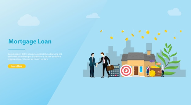 Mortgage loan  website template banner or landing homepage