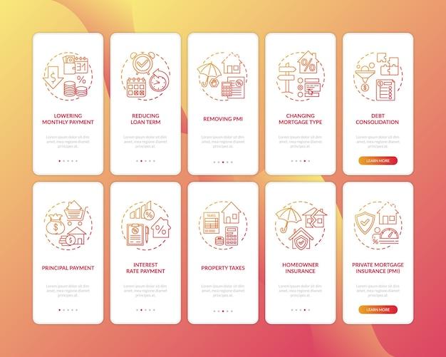 Преимущества рефинансирования ипотеки на экране страницы мобильного приложения с набором концепций